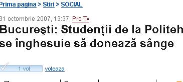 Bucureşti: Studenţii de la Politehnică se înghesuie să donează sânge