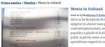 Meniu in italiana