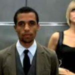 Black man in an elevator