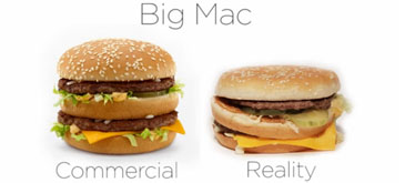 Reclamele McDonalds vs realitate