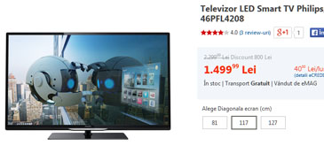 Televizor LED Smart TV Philips 117 cm Full HD 46PFL4208