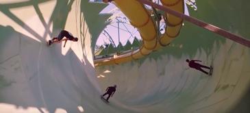 Skateboarding in waterpark